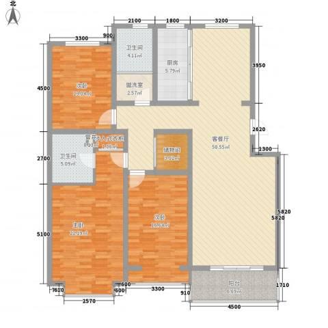桥华世纪村3室1厅2卫1厨186.00㎡户型图