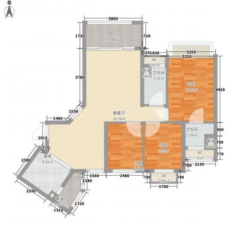 锦绣银湾别墅3室1厅2卫1厨116.00㎡户型图