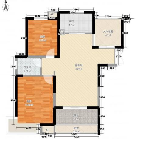 蓝鼎滨湖假日翰林苑2室1厅1卫1厨113.00㎡户型图