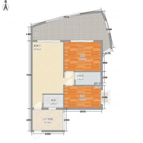 东方龙湾2室1厅1卫1厨102.00㎡户型图