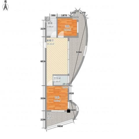 东方龙湾2室1厅1卫1厨81.00㎡户型图