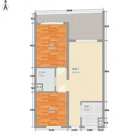 东方龙湾2室1厅1卫0厨93.00㎡户型图