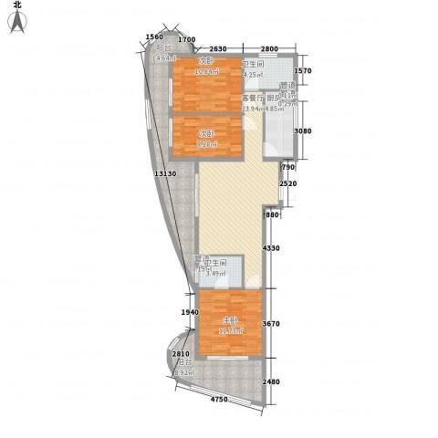 东方龙湾3室1厅2卫1厨131.00㎡户型图