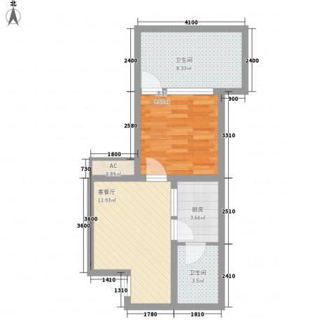 龙潭・温泉印象1室1厅2卫1厨44.00㎡户型图