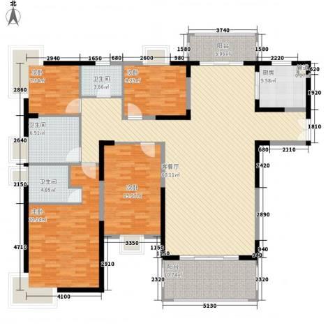 鸿景园4室1厅3卫1厨208.00㎡户型图