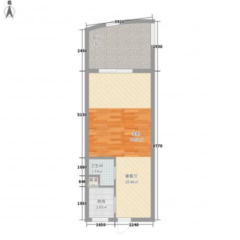 东方龙湾1厅1卫1厨57.00㎡户型图