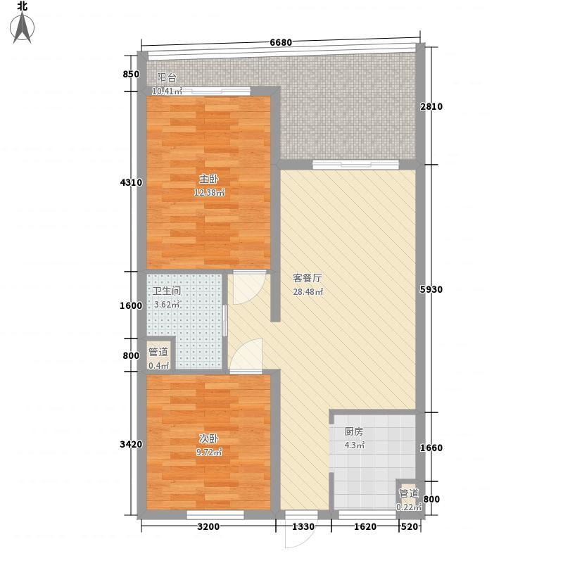 东方龙湾3.00㎡B1户型2室2厅1卫1厨