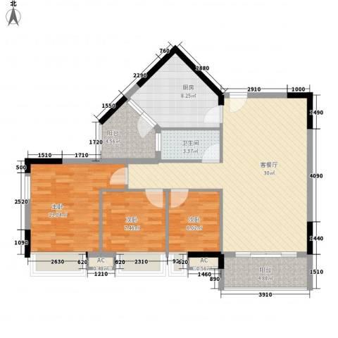 保利壹号公馆3室1厅1卫1厨111.00㎡户型图