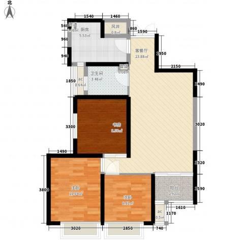 �灞1号3室1厅1卫1厨96.00㎡户型图