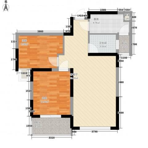 大学康城美域2室1厅1卫1厨88.00㎡户型图