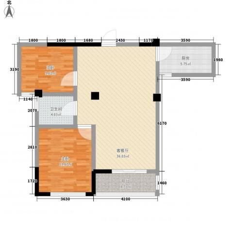 大诚苑二期2室1厅1卫1厨106.00㎡户型图