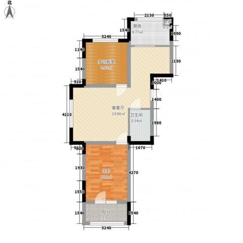澳海�方1�1室1厅1卫1厨77.00㎡户型图