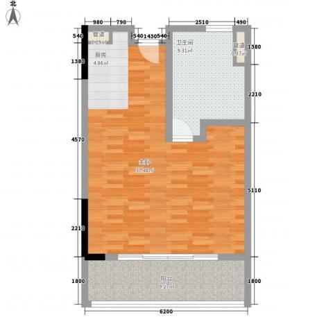 神州半岛朝阳海岸1室0厅1卫0厨80.00㎡户型图