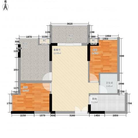 宝安椰林湾2室1厅1卫1厨77.00㎡户型图