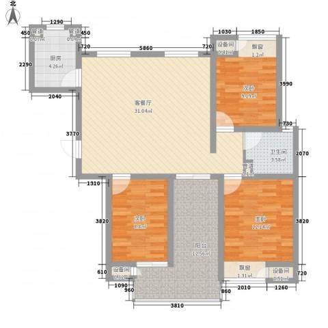 香江壹品3室1厅1卫1厨120.00㎡户型图
