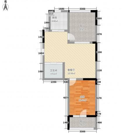 澳海�方1�1室1厅1卫1厨72.00㎡户型图