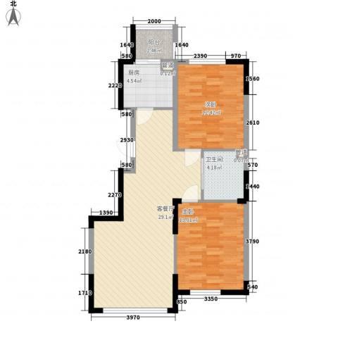 澳海�方1�2室1厅1卫1厨87.00㎡户型图