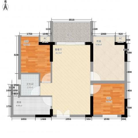 宝安椰林湾2室1厅1卫1厨78.00㎡户型图