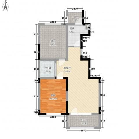 澳海�方1�1室1厅1卫1厨82.00㎡户型图