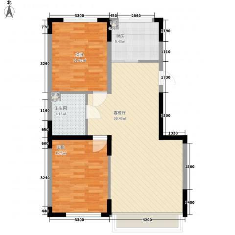 澳海�方1�2室1厅1卫1厨89.00㎡户型图