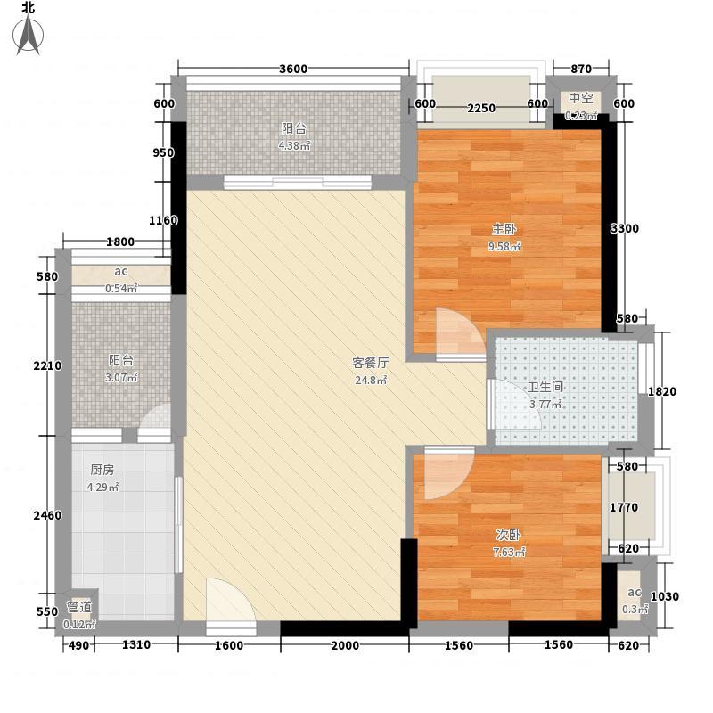 恒福新城75.60㎡33座306单位户型2室2厅1卫1厨
