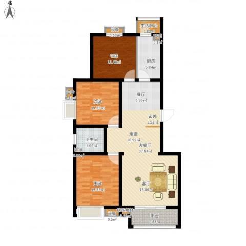 鼎旺国际社区3室1厅1卫1厨134.00㎡户型图