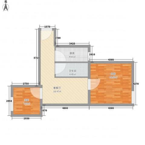 富华家园2室1厅1卫1厨74.00㎡户型图