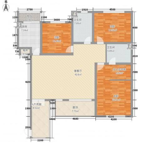 力旺格林春天3室1厅2卫1厨152.00㎡户型图