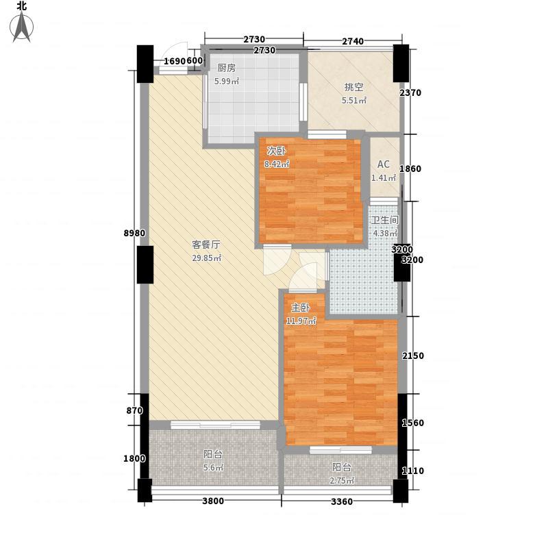 三亚・地中海湾B户型2室2厅1卫1厨