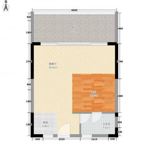 金色港湾1厅1卫0厨66.00㎡户型图
