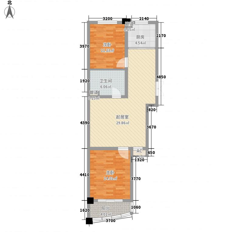海韵华府C4、C5#F户型2室2厅1卫1厨