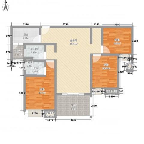 国信世家3室1厅2卫1厨134.00㎡户型图