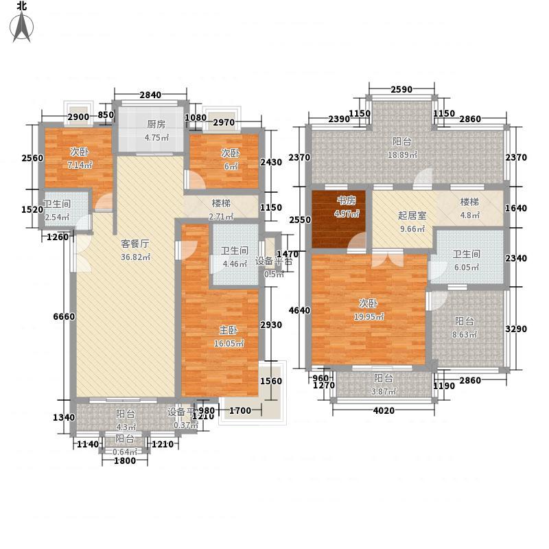 天庆嘉园C区太阳岛225.25㎡C跃型户型5室2厅3卫1厨