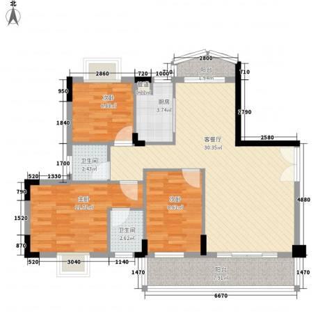 丰涵家园3室1厅2卫1厨110.00㎡户型图