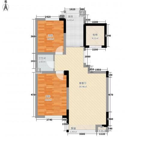 力旺格林春天2室1厅1卫1厨86.00㎡户型图