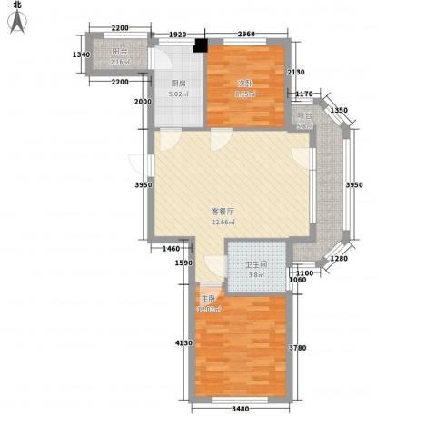 同香山庄2室1厅1卫1厨86.00㎡户型图