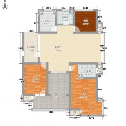 香江壹品3室1厅2卫1厨130.00㎡户型图