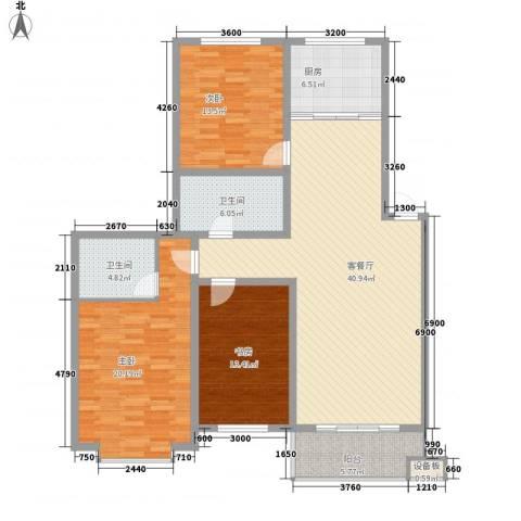 桥华世纪村3室1厅2卫1厨158.00㎡户型图