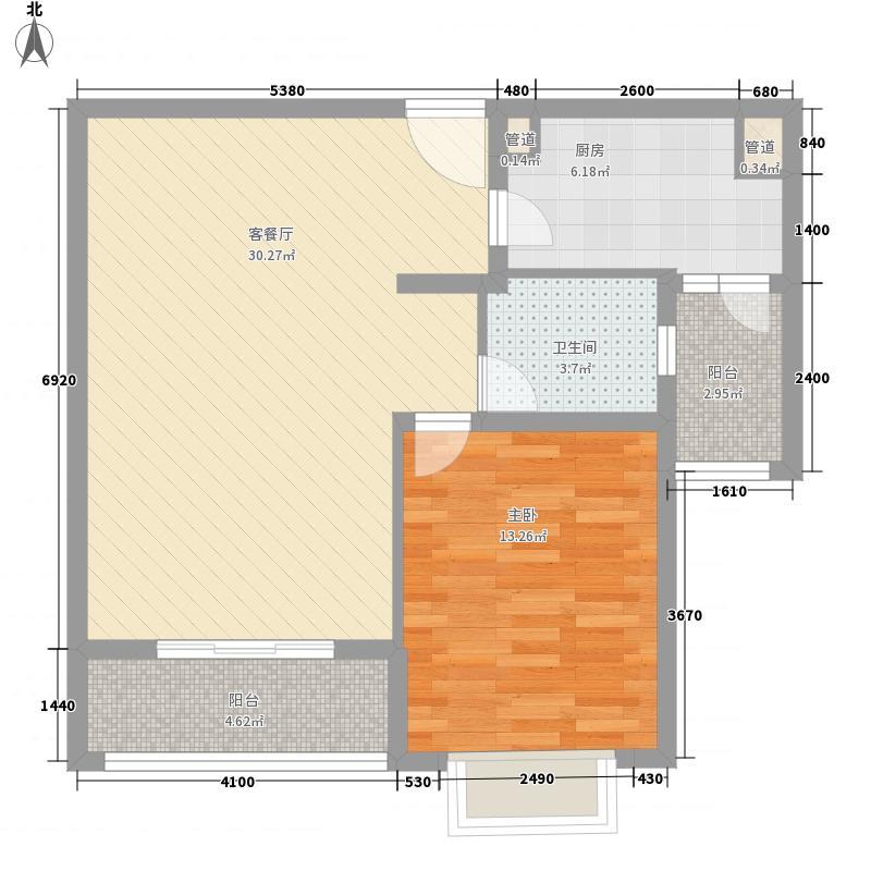 中鹰黑森林89.13㎡1号楼02户型1室2厅