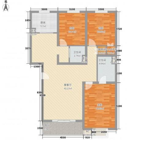 桥华世纪村3室1厅2卫1厨144.00㎡户型图