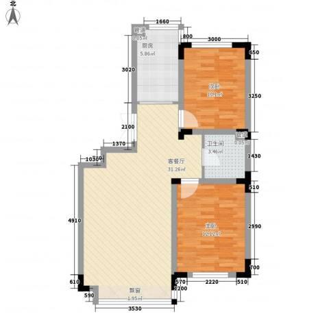 力旺格林春天2室1厅1卫1厨90.00㎡户型图