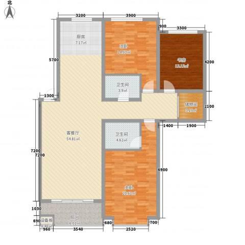 桥华世纪村3室1厅2卫0厨169.00㎡户型图