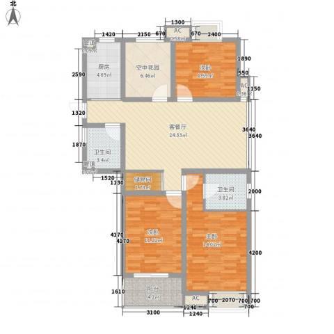 香江壹品3室1厅2卫1厨123.00㎡户型图