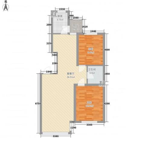 中金名筑2室1厅1卫1厨94.00㎡户型图
