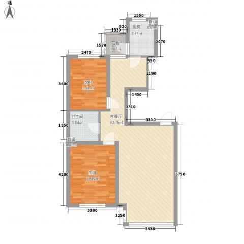 中金名筑2室1厅1卫1厨88.00㎡户型图