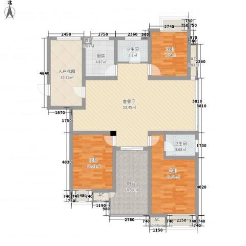 香江壹品3室1厅2卫1厨141.00㎡户型图
