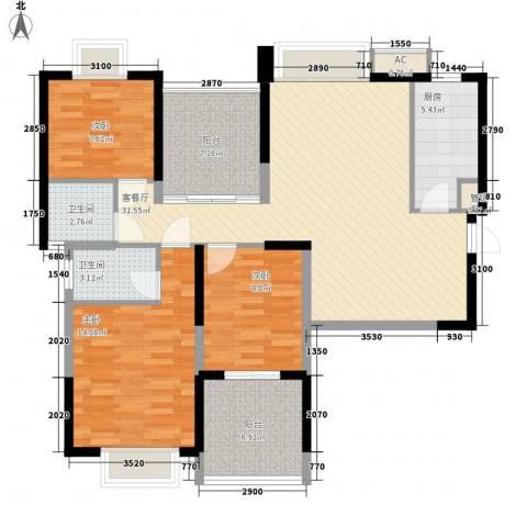 大学康城美域3室1厅2卫1厨127.00㎡户型图