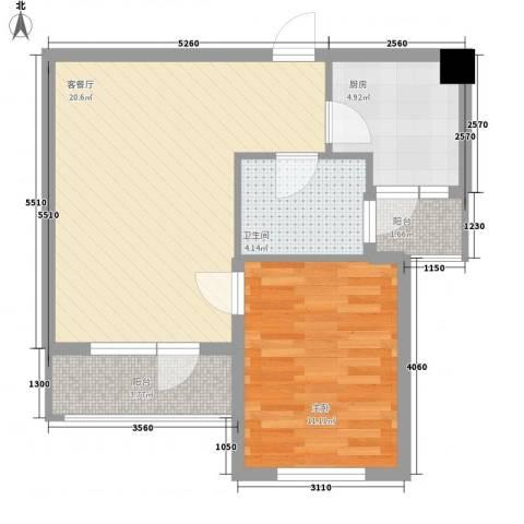 同香山庄1室1厅1卫1厨66.00㎡户型图