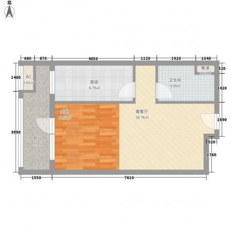 京城豪苑1厅1卫1厨51.20㎡户型图