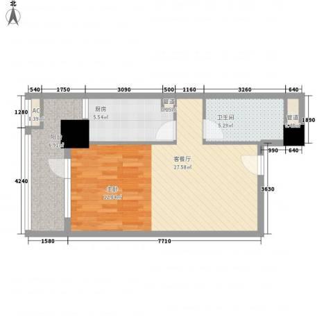 京城豪苑1厅1卫1厨54.40㎡户型图
